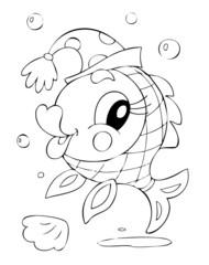 illustration of the amusing fish