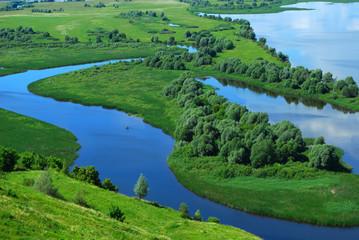 Foto auf Leinwand Fluss Landscape on the River Volga, Russia