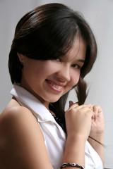 smiling girl in white