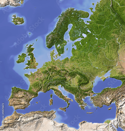 Shaded relief map of Europe, colored for vegetation ...