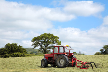 Hay Making Red Tractor