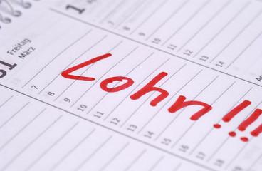 Lohn - Eintrag im Kalender