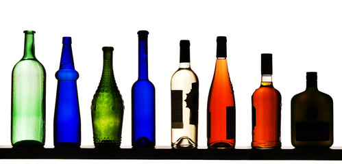 Color bottles on a white background