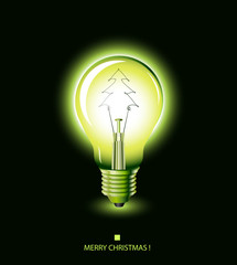 christmas tree light bulb - green - vector