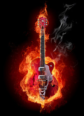 Foto op Canvas Vlam Fire guitar