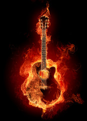 Poster Flamme Fire guitar
