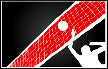 volleyball player on a black background