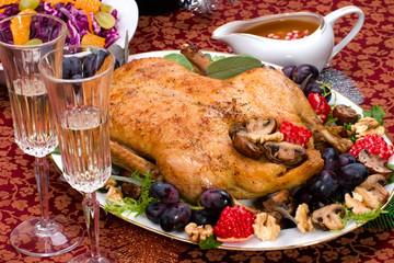 Christmas duck on holiday table