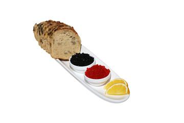 Caviar , lemon and bread with pumpkin seeds