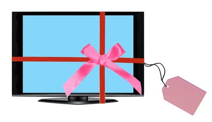 TV set Christmas gift concept