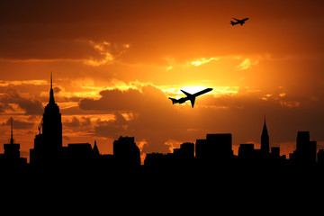 Midtown Manhattan skyline with planes