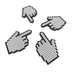 Poster Pixel Computer hand cursors 3d rendered illustration