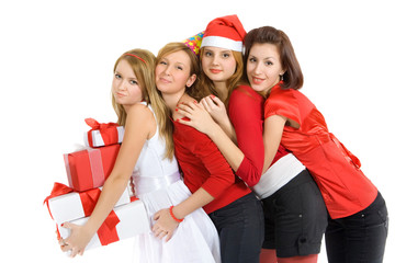Four pretty girls in red with the presents.