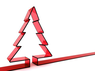 3D red glass Christmas tree