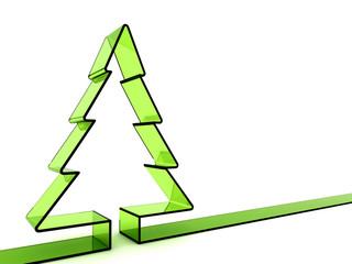 3D green glass Christmas tree