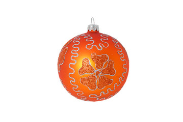 orange christmas ball isolated