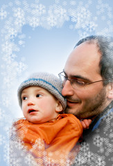 father and son on winter background