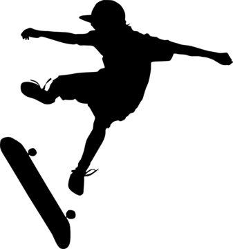 skateboarding silhouette vector