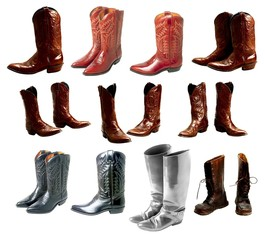 Collection of leather pairs a boots of various colors