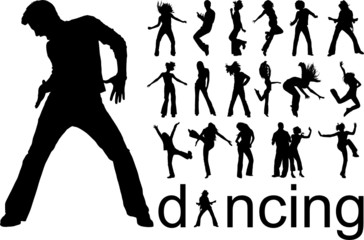 high quality traced dancing people silhouettes vector