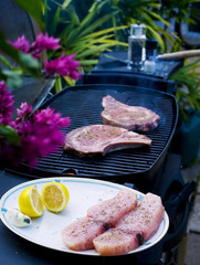 ribeye steaks cook on the bar-b-que grill, sworfdish next