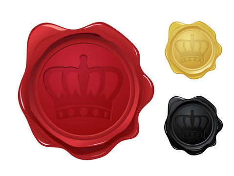 Wax seal with crown stamp