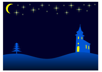 christmas night - vector