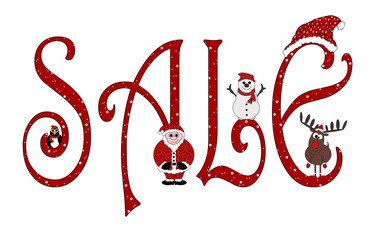 Christmas Sale Sign With Animations - Isolated on white