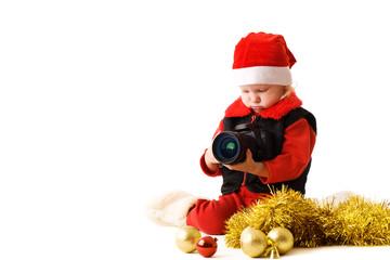 small Santa with camera