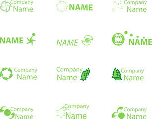 Collection of green icons for design