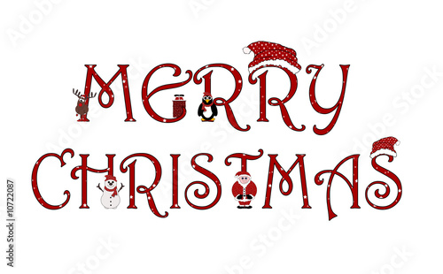 merry christmas sign with animations isolated on white