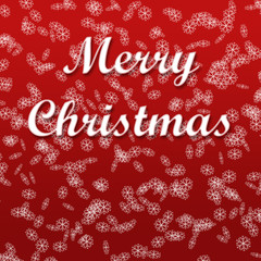 Merry Christmas Background - red with snowflakes