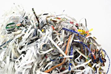 Closeup of shredding paper
