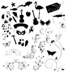 A large set of vector design elements
