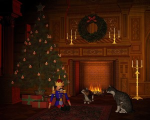 Christmas Eve Cats by the Fire
