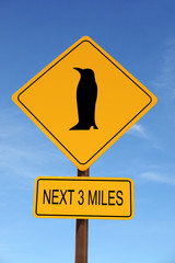 Penguin Ahead warning roadsign