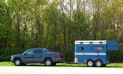 The blue horse trailer