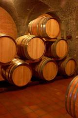Fototapete - Weinkeller, Eichenfässer, Barrique, Rotwein, Toskana