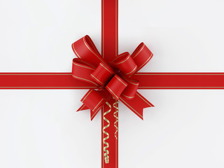 red gift, ribbon, bow