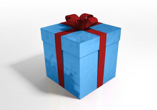 cadeau noel bleu noeud rouge sur fond blanc