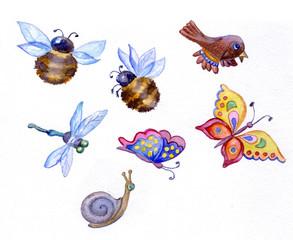 Birds, butterflies, bees and dragonflies