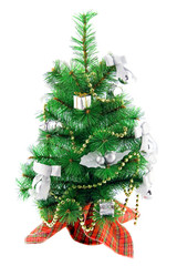 Christmas decorated fur-tree, isolated