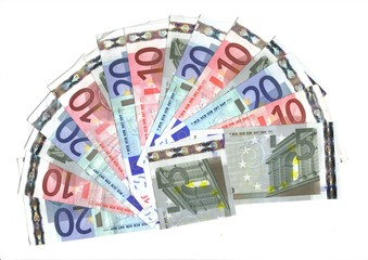 range of  banknotes; fiven ten and twenty euro