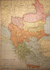 map,antique,vintage,balkan,states,old