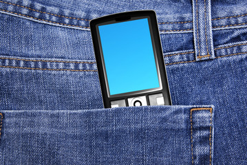 black cell phone in jeans pocket