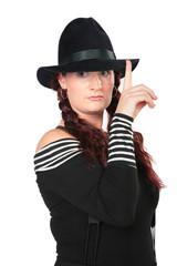 Portrait of beauty woman in black hat