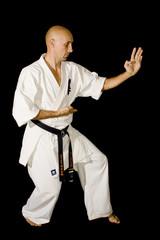 Karateka men is posing