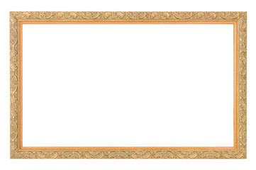 gold antique frame isolated on white