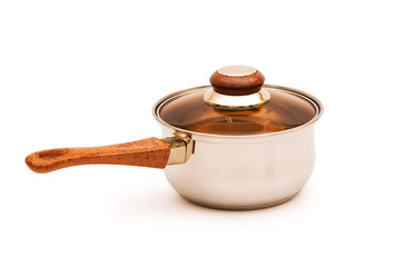 Silver saucepan isolated on the white background
