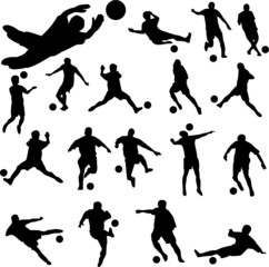 football players with ball vector silhouettes
